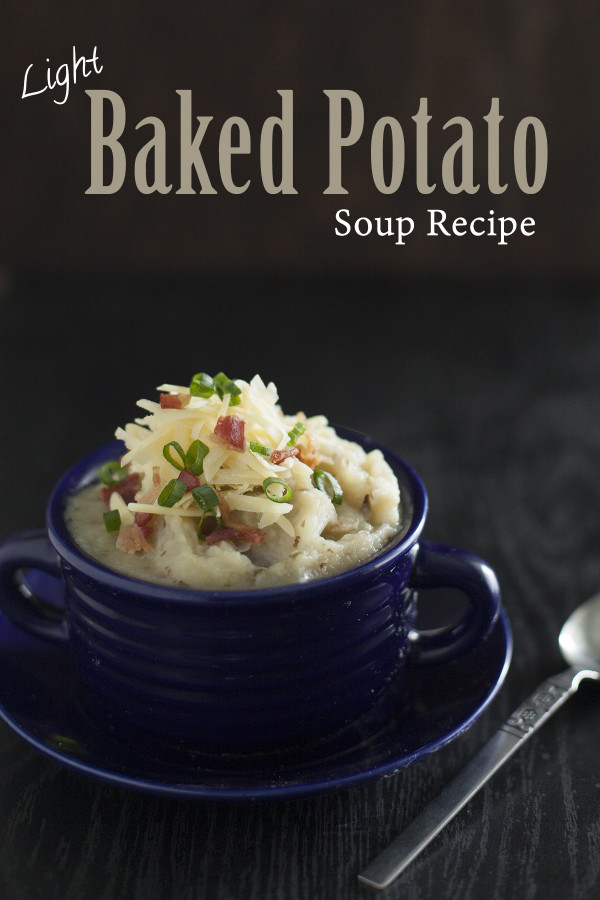 Light Baked Potato Soup is still rich and creamy, but good for you! EatingRichly.com