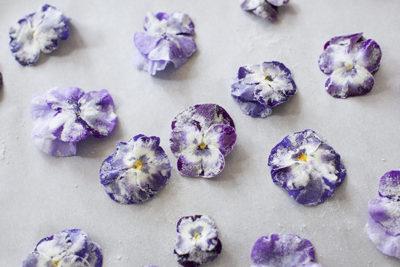 Candied violets garnish tutorial - EatingRichly.com