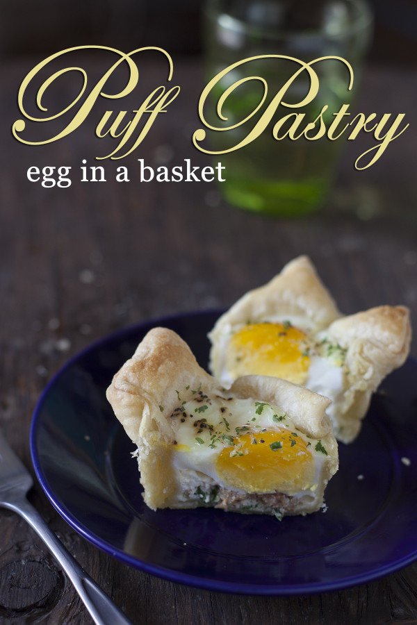 Puff pastry egg in a basket for Mother's Day lunch at EatingRichly.com