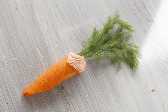 "Salmon mousse filled ""carrot"" cones for Easter brunch - EatingRichly.com"