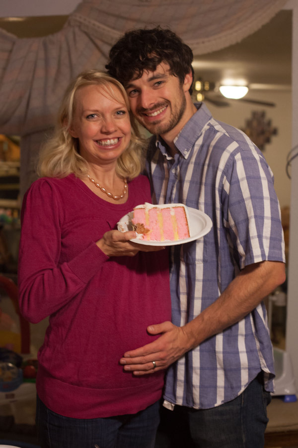 Gender reveal party with cake. EatingRichly.com