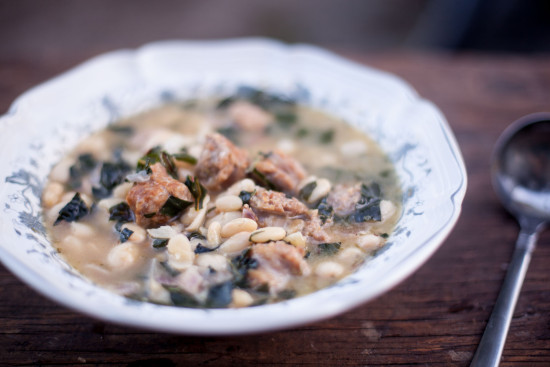 Chicken sausage, kale, and white bean soup recipe. Great freezer meal too! EatingRichly.com