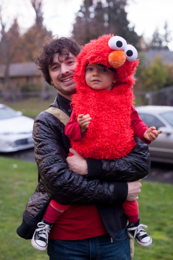Corban dressed as Elmo for Halloween. Such a cute kid! EatingRichly.com