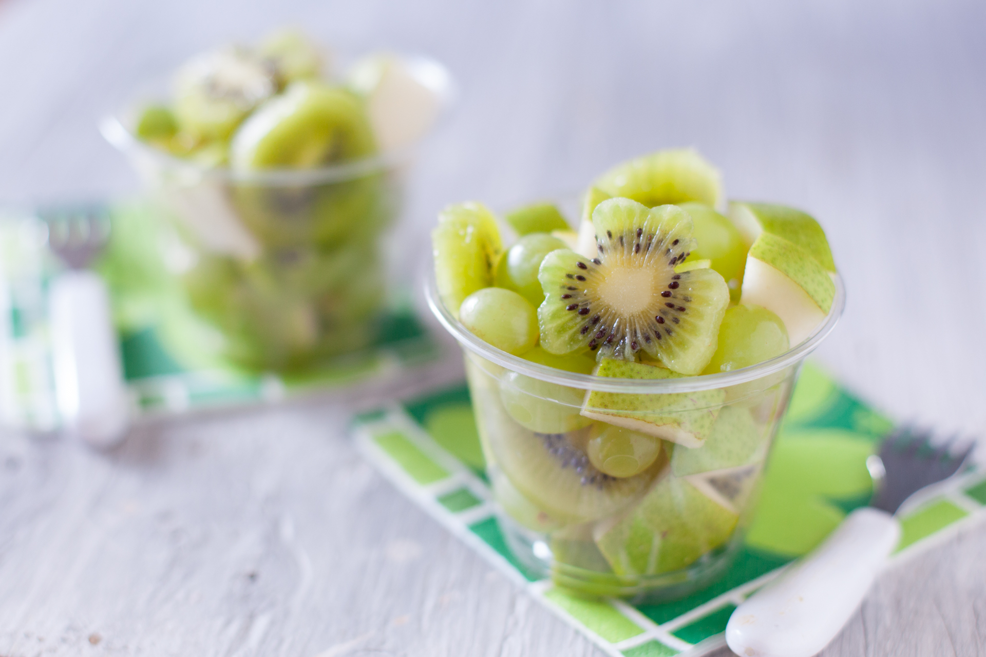Green Fruit Salad Cute Kid Snack Recipe for St. Patrick's Day