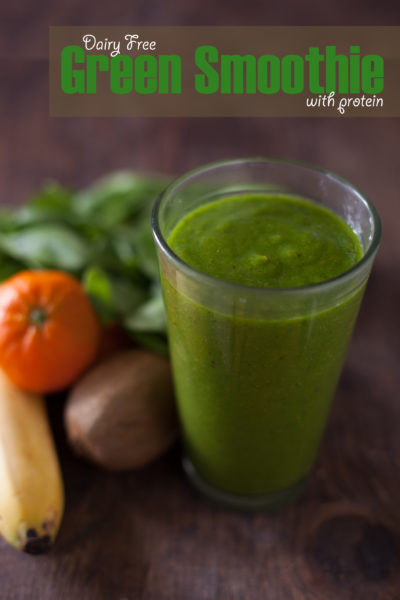 Dairy free green smoothie with protein. Great breastfeeding snack! - EatingRichly.com