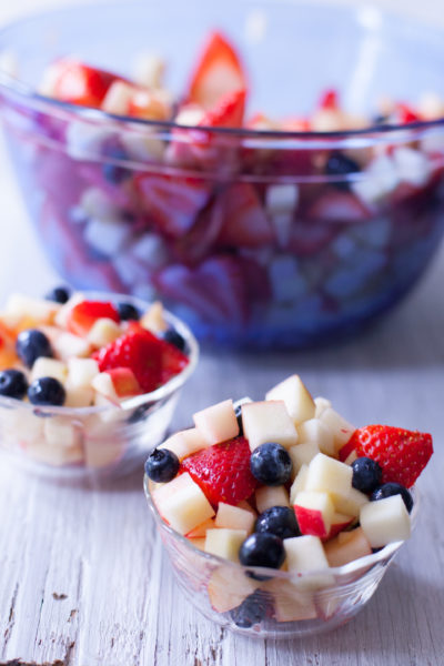This red, white, and blue fruit salad recipe makes a great patriotic side dish or health dessert