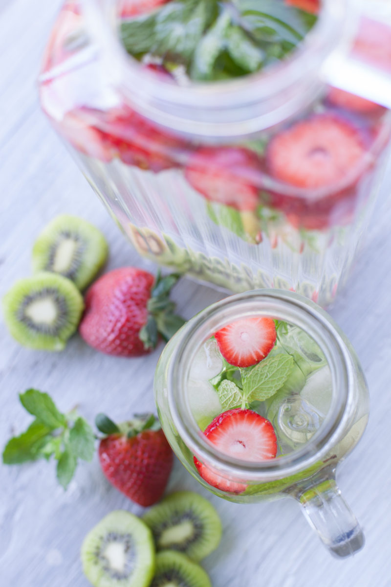 Strawberry kiwi mint infused water, naturally flavored water from EatingRichly.com