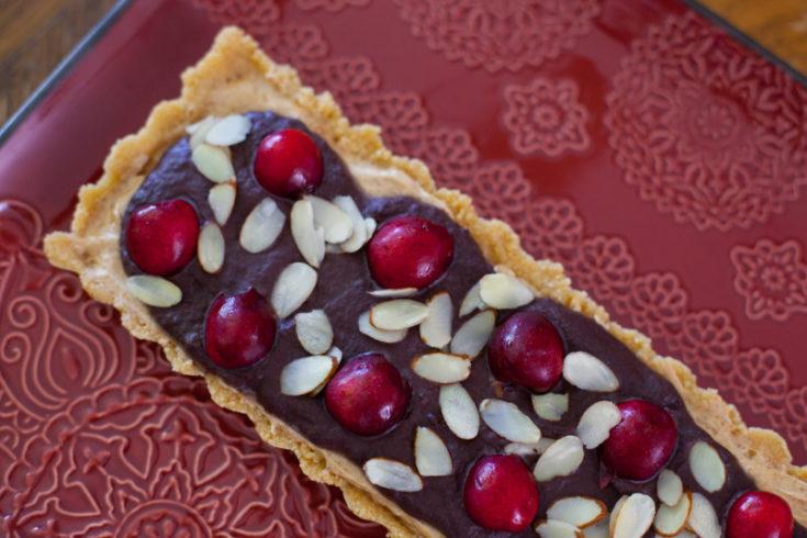 No Bake Chocolate Cherry Almond Tart Recipe