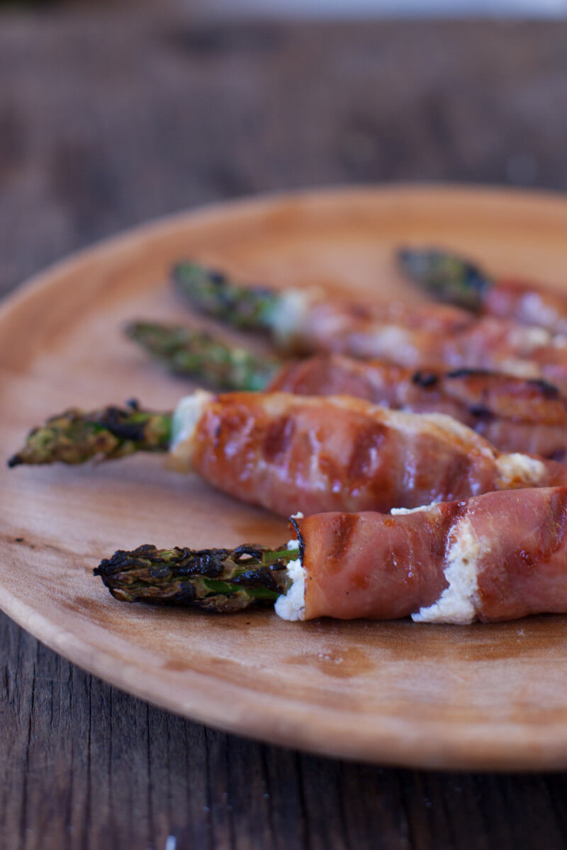 This goat cheese stuffed prosciutto wrapped asparagus recipe is so easy, a toddler can make it!