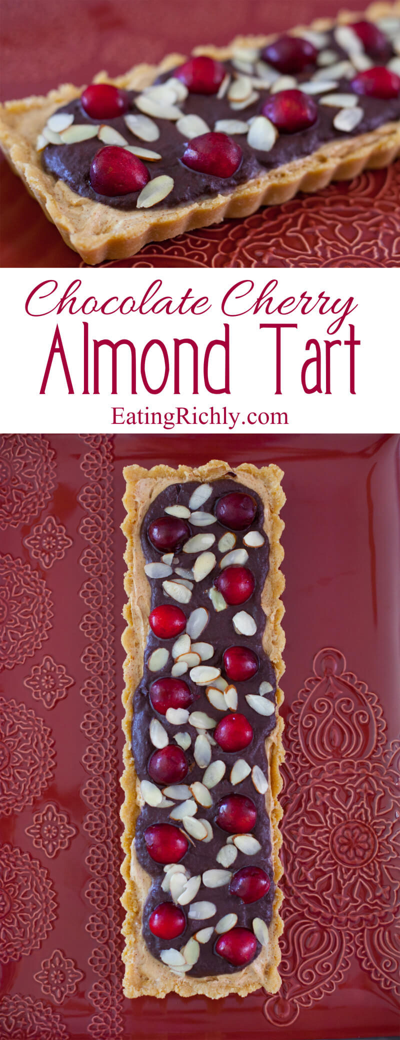 This no bake chocolate cherry almond tart recipe is an easy summer dessert!