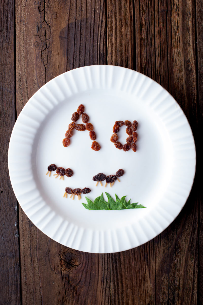 Easy alphabet kids snacks create a fun edible learning experience and preschool reading introduction. These raisin ants teach kids that A is for Ant. From EatingRichly.com.