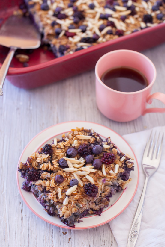 This easy black and blueberry baked oatmeal recipe is a healthy breakfast to make ahead & enjoy throughout the week, or perfect to feed a crowd at brunch. From EatingRichly.com