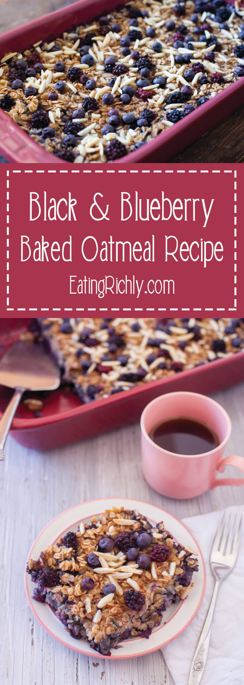 This easy black and blueberry baked oatmeal recipe is a healthy breakfast to make ahead & enjoy throughout the week, or perfect to feed a crowd at brunch. Easy substitutions to make it gluten free, dairy free, nut free, and/or vegan. From EatingRichly.com