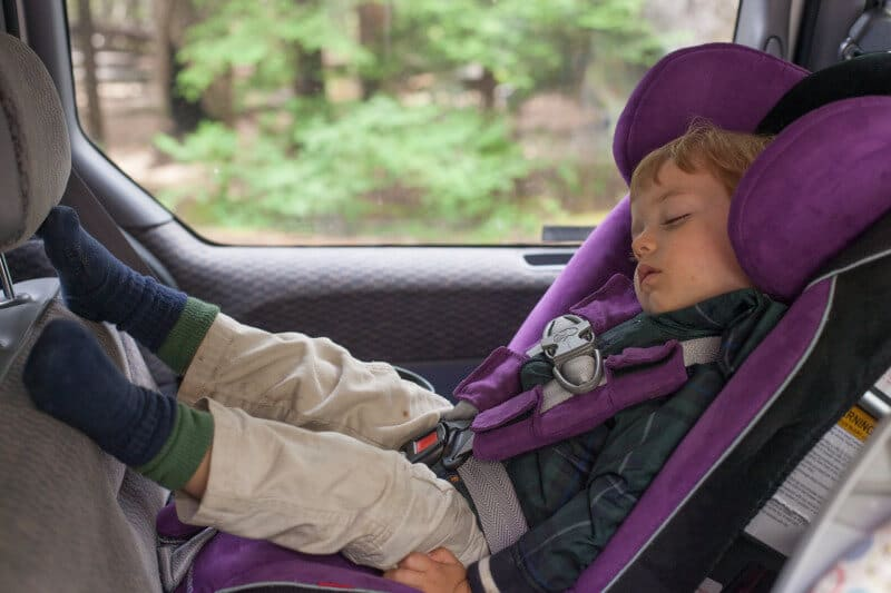 25 tips for camping with toddlers and babies - napping in car seat
