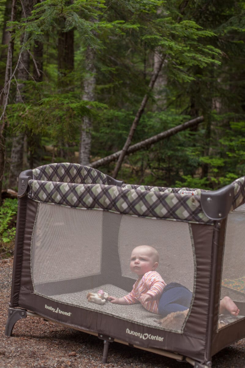 25 tips for camping with toddlers and babies- baby in pack n play