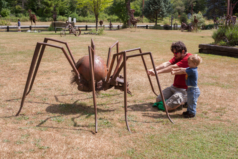 25 tips for camping with toddlers and babies - giant spider sculpture