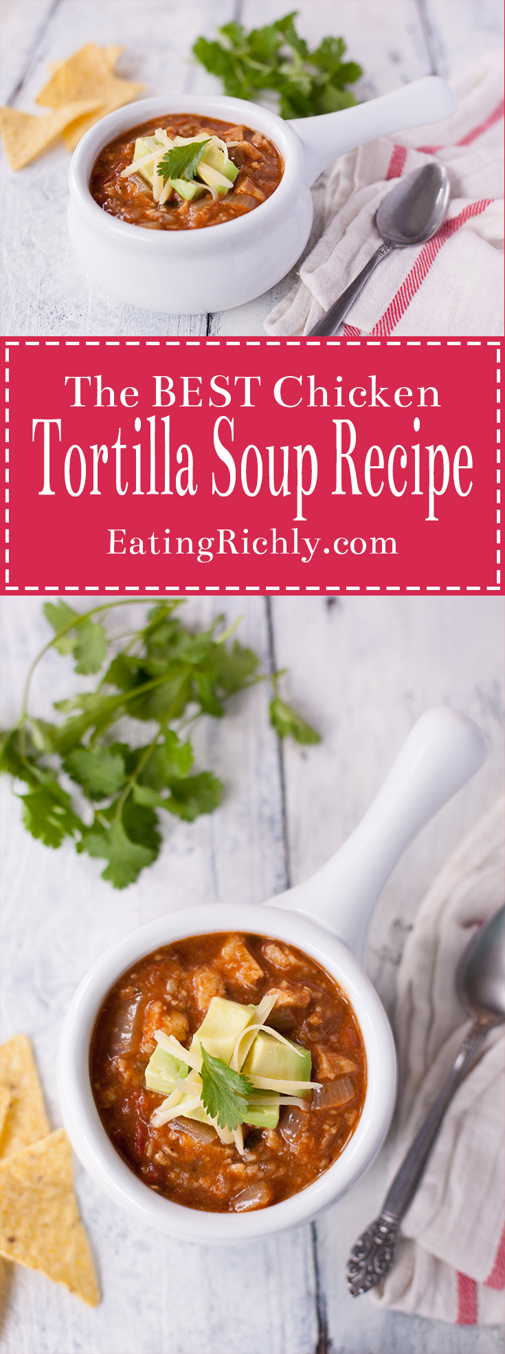 This easy chicken tortilla soup recipe is true comfort food. Ready in under 1 hour, & you control the amount of heat. You'll make this soup again and again! From EatingRichly.com
