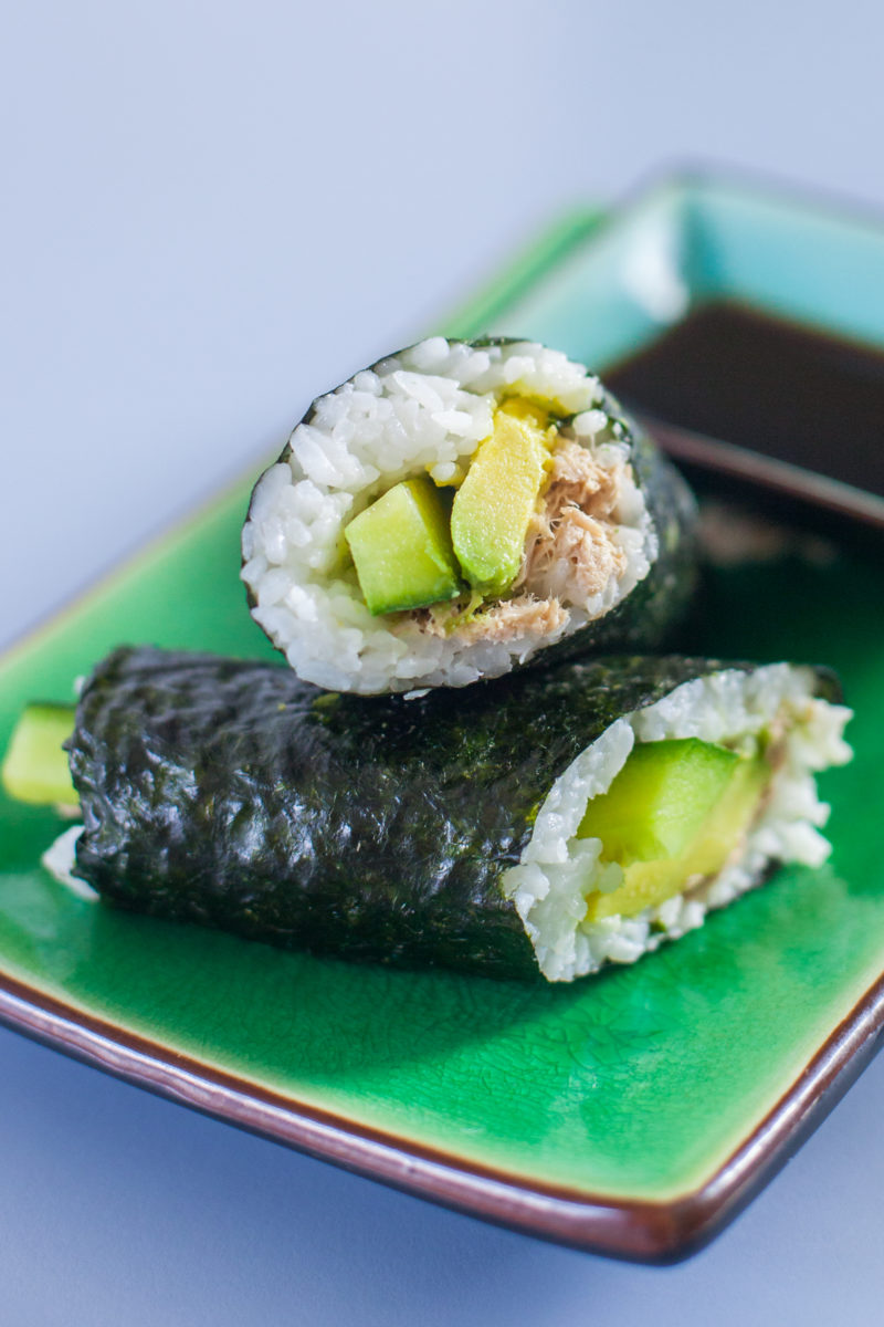 This canned tuna salad hand roll is the best sushi for kids because they can easily make and eat it themselves. Check out a three year old sushi chef! Part of #MiniChefMondays on EatingRichly.com