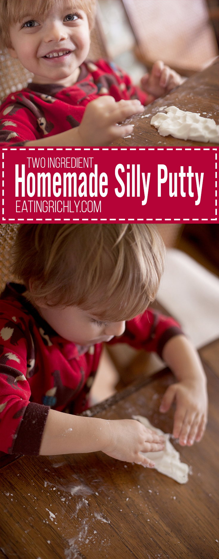 This homemade silly putty recipe uses only two ingredients that you probably already have at home. The perfect craft for boys who don't usually sit still. Part of #MiniChefMondays on EatingRichly.com