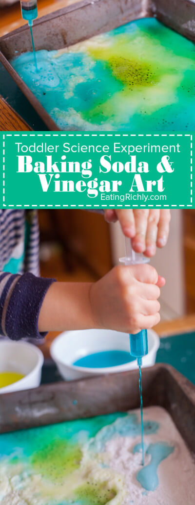 This toddler science experiment teaches how baking soda and vinegar react, while making a colorful art project. You toddler won't believe their eyes! Part of #MiniChefMondays on EatingRichly.com
