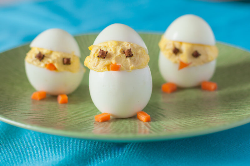 Wondering what to do with Easter eggs now that you're done with Easter? Turn them into these cute and easy boiled egg animals! Deviled egg chicks take just a few minutes to make. Get the recipe and three more animals from Eating Richly.