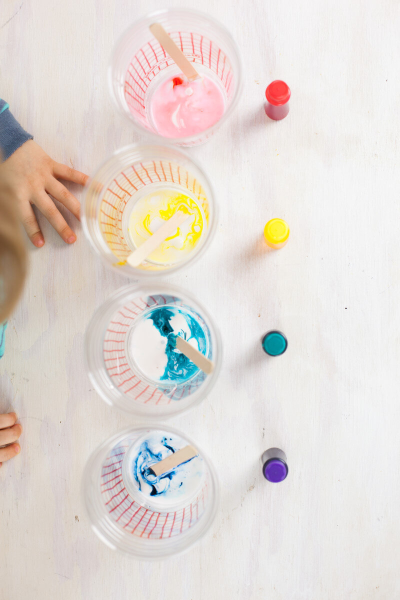 Colorful Easter Egg slime is a great sensory craft for little fingers. Plus ten fun and easy Easter crafts for preschoolers. Part of #MiniChefMondays on EatingRichly.com