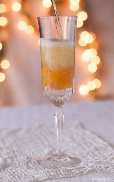 Mix up this apple cider mango bellini mocktail using whatever flavor of sparkling cider you prefer. Check out all 20 booze free Mother's Day drinks on EatingRichly.com