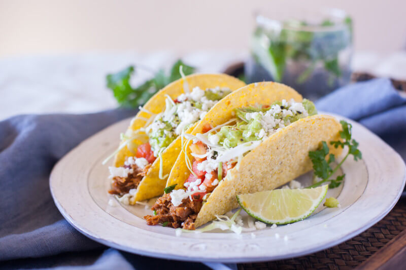 A taco bar is an easy lunch option for a weekend getaway with friends. Barbacoa beef in the crockpot is SO simple! Check out all the details of our awesome, all expense paid blogger work retreat! #InvigorateRetreat #OldElPaso