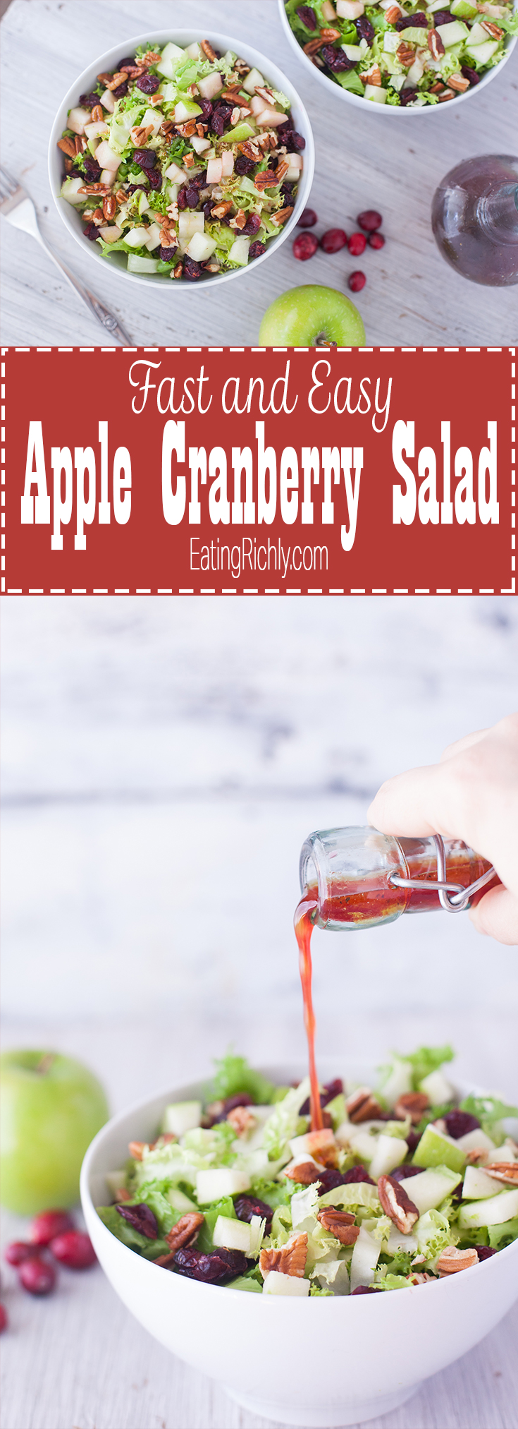 This fast and easy apple cranberry salad recipe makes two filling meals, or four side salads. It's #dairyfree #vegan and #glutenfree. Plus we walk you through everything you need to know about endive, frisée, escarole, and other chicory vegetables. From EatingRichly.com