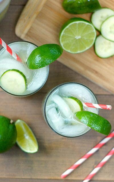 Cucumber, basil, and lime give this fizzy mocktail fresh garden flavors. Check out all 20 booze free Mother's Day drinks on EatingRichly.com