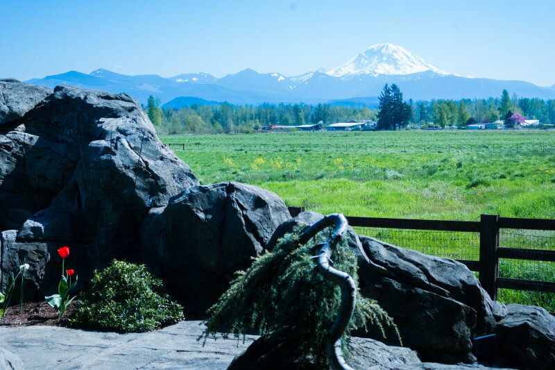 Gorgeous views of Mt. Rainier at wedding venue Mountain View Manor in Enumclaw, Washington. Check out all the details of our awesome, all expense paid blogger work retreat! #InvigorateRetreat