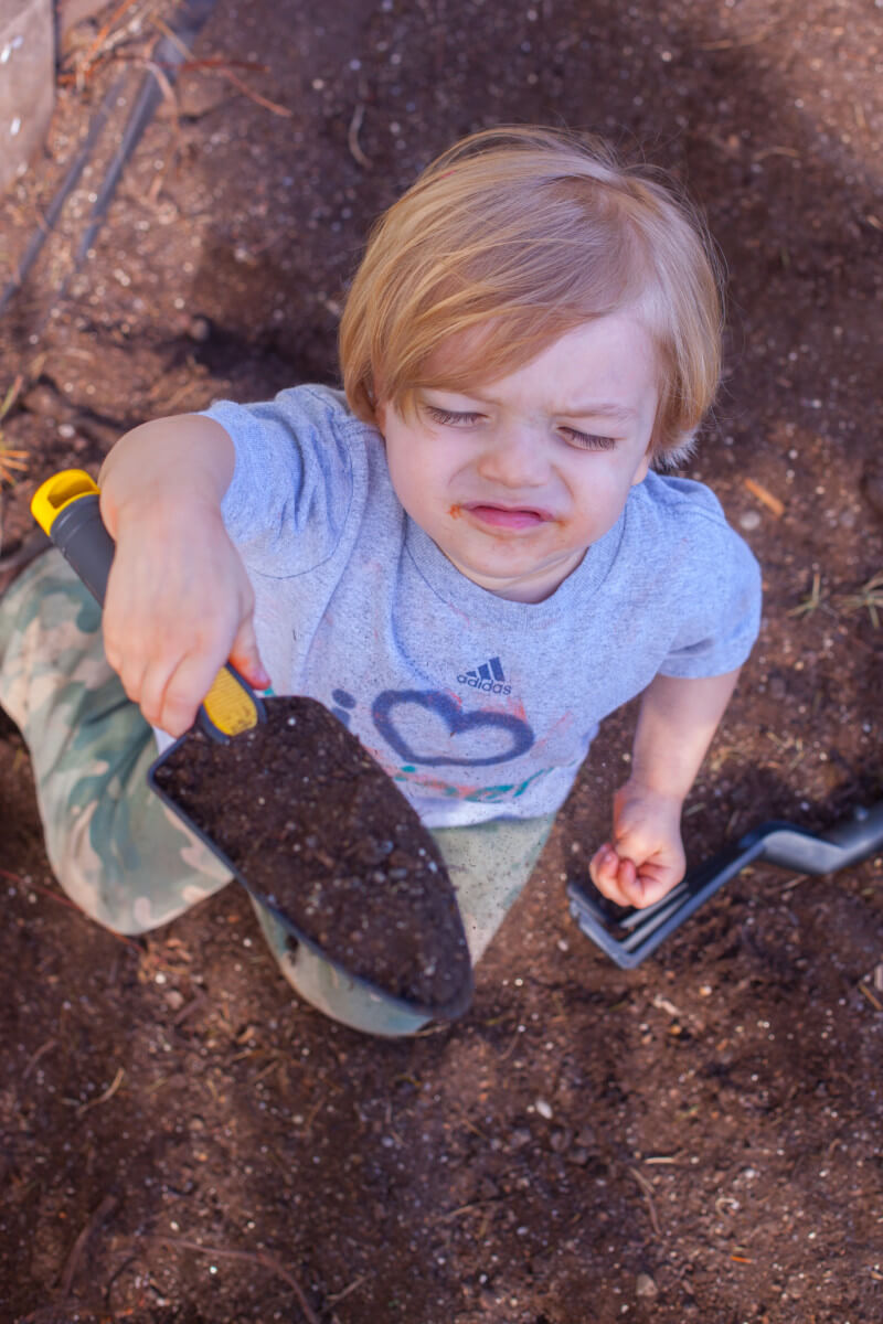 Kids love digging in the dirt, so you may want to save a digging space in the garden. Get more tips for growing a kids vegetable garden at EatingRichly.com