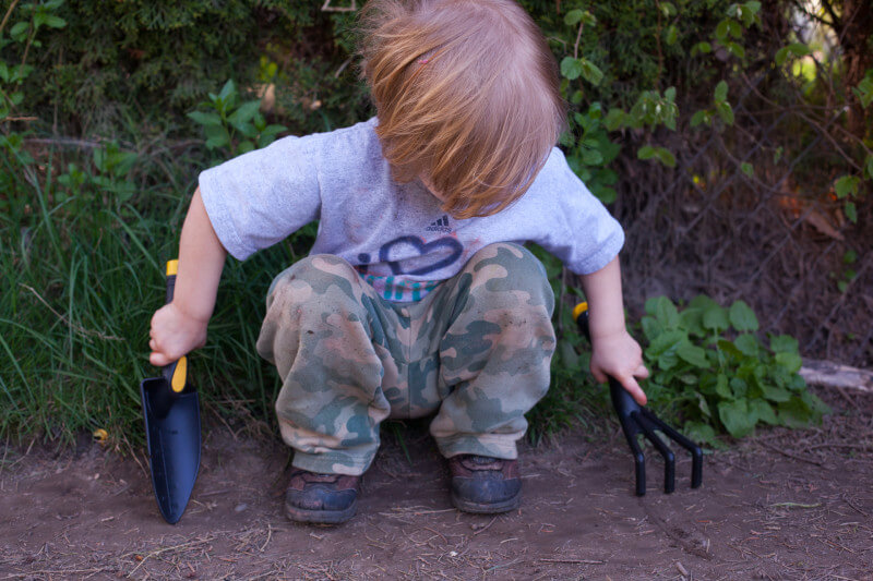 Kids love to dig, so buy them their own shovel and rake for working in the garden. Get more tips for growing a kids vegetable garden at EatingRichly.com