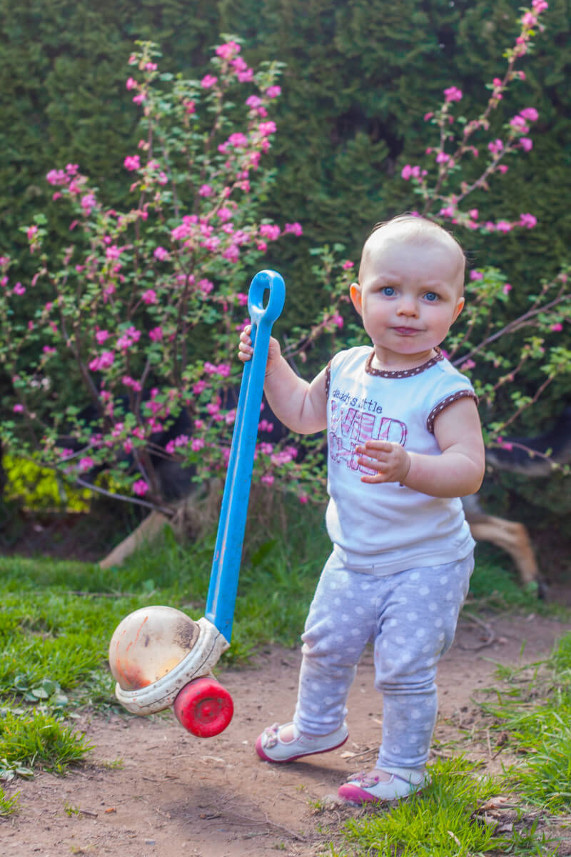 Our newest gardener is ready for those flowers to turn into currants. Get more tips for growing a kids vegetable garden at EatingRichly.com