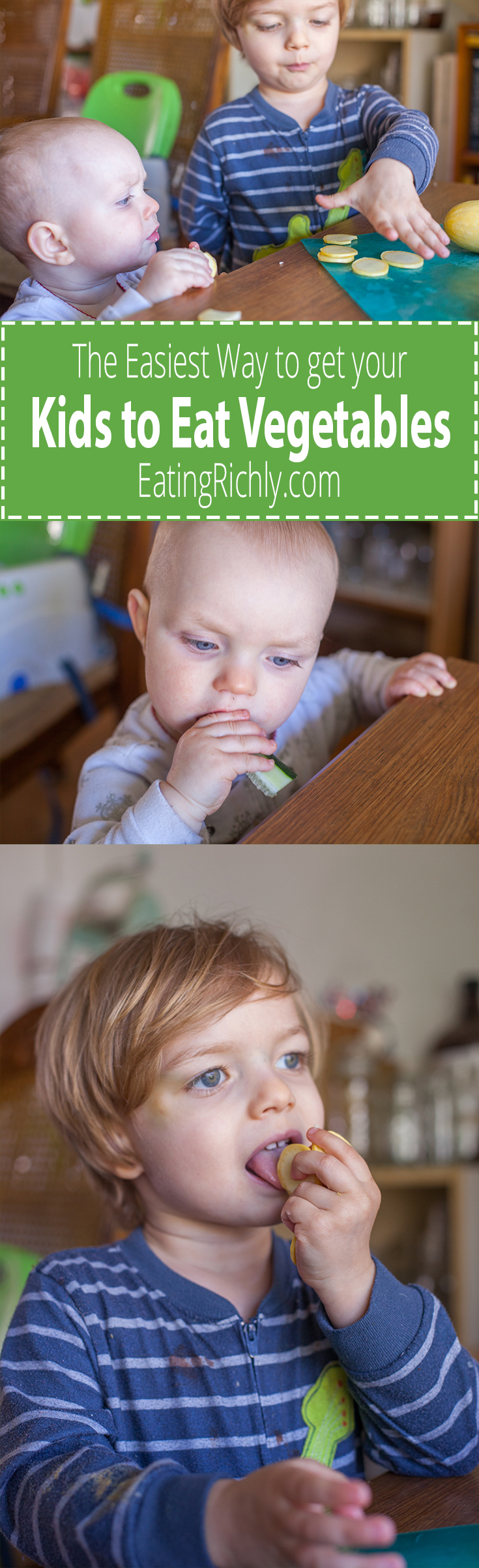 Have a kid who turns their nose up at veggies? Here's one of the easiest way to encourage fruits and vegetables for kids who tend to who refuse them. From EatingRichly.com