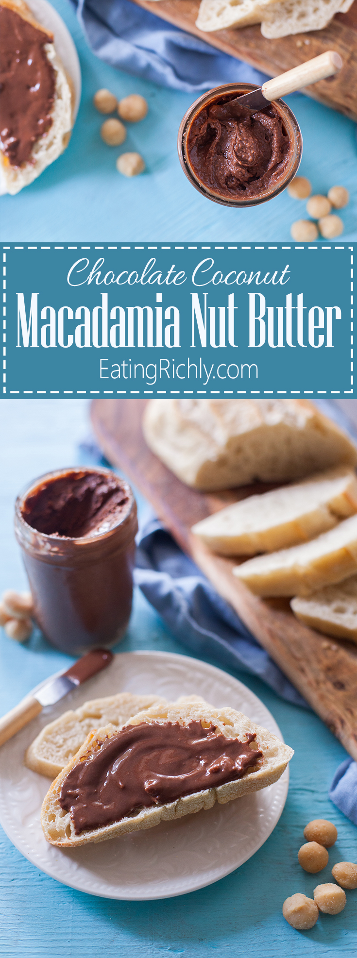 This coconut chocolate macadamia nut butter is heaven in a jar. Just four ingredients & vegan, dairy free, & paleo. You will not believe how good it is! From EatingRichly.com