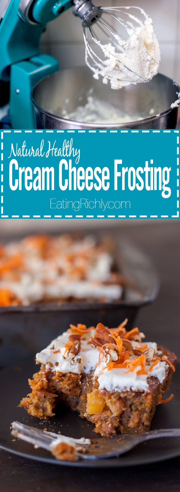 This healthy cream cheese frosting recipe has just a few ingredients and is actually good for you! From EatingRichly.com