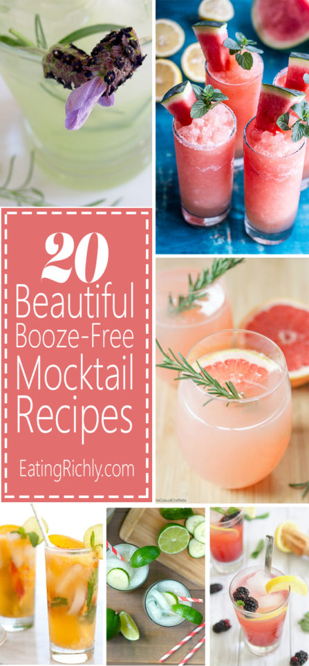 Every mom should get a pretty drink on Mother's Day, and with these beautiful booze-free Mother's Day drinks, even pregnant and breastfeeding moms can drink away. See all 20 mocktails on EatingRichly.com