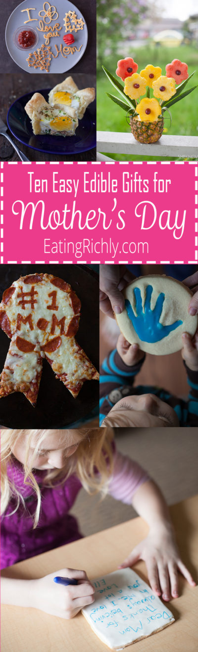 These cute edible Mother's Day gifts are a fun and tasty way for kids to show their love for mom. They can all be made by kids, though younger ones will need some help from an adult. From EatingRichly.com