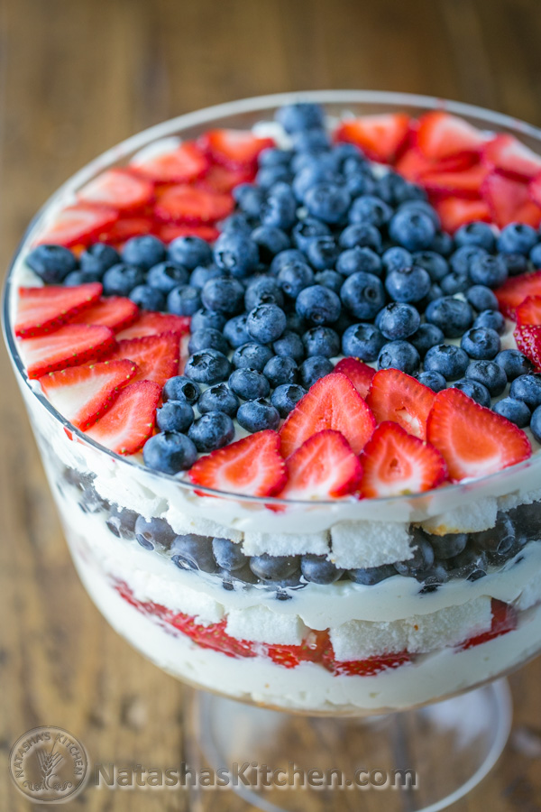 No-bake strawberry blueberry trifle. Get more recipes for healthy 4th of July desserts at EatingRichly.com.