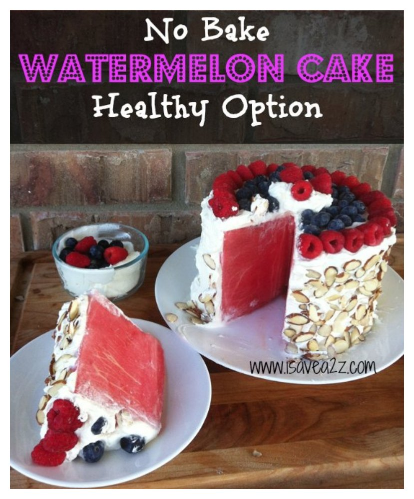 No-bake Watermelon Cake. Get more recipes for healthy 4th of July desserts at EatingRichly.com.