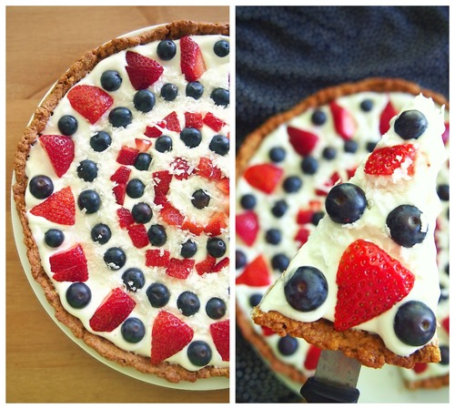 Berry Dessert Pizza. Get more recipes for healthy 4th of July desserts at EatingRichly.com.