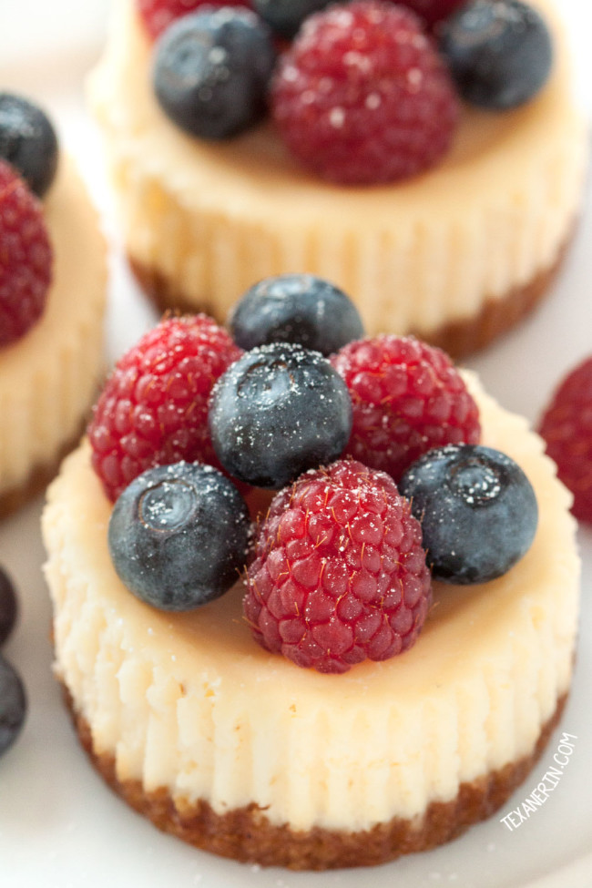 Gluten-free grain-free mini cheesecakes. Get more recipes for healthy 4th of July desserts at EatingRichly.com.