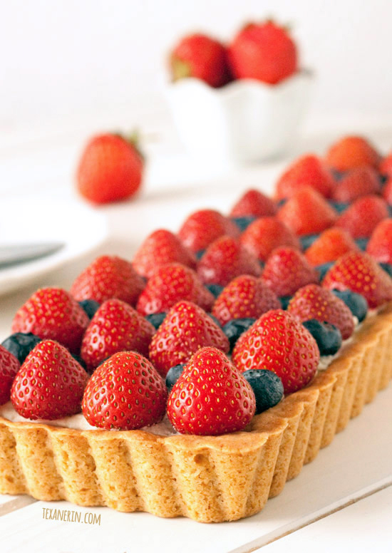 Greek Yogurt berry cookie tart. Get more recipes for healthy 4th of July desserts at EatingRichly.com.
