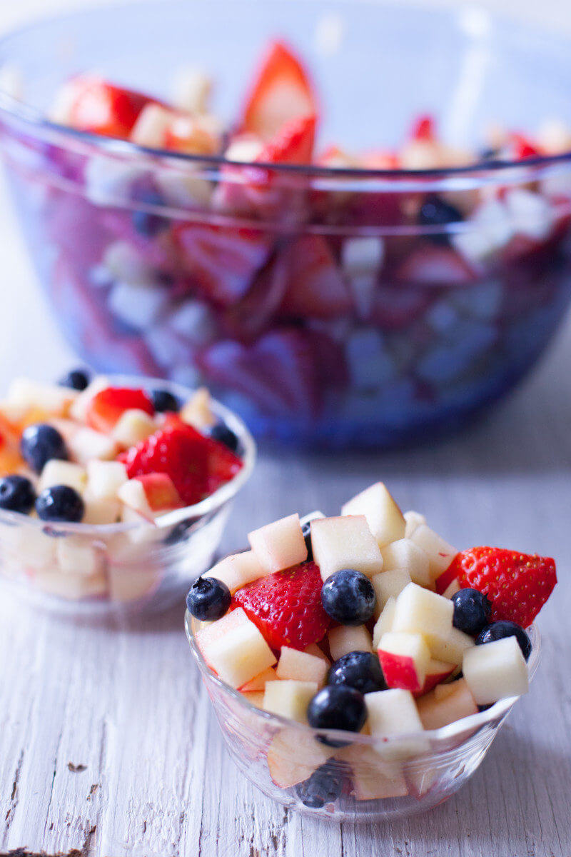 This red, white and blue fruit salad is a fun - and healthy - patriotic treat. Get more 4th of July Snacks that kids can make at EatingRichly.com