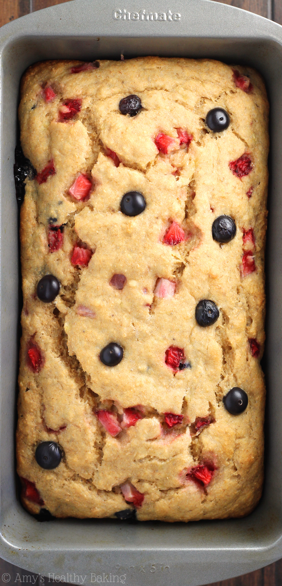 Whole wheat strawberry blueberry banana bread. Get more recipes for healthy 4th of July desserts at EatingRichly.com.