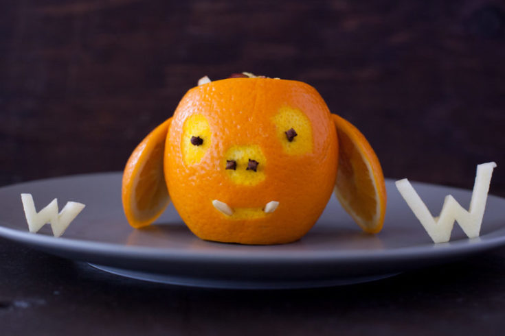 Carved Orange Warthog with Toddler Fruit Salad