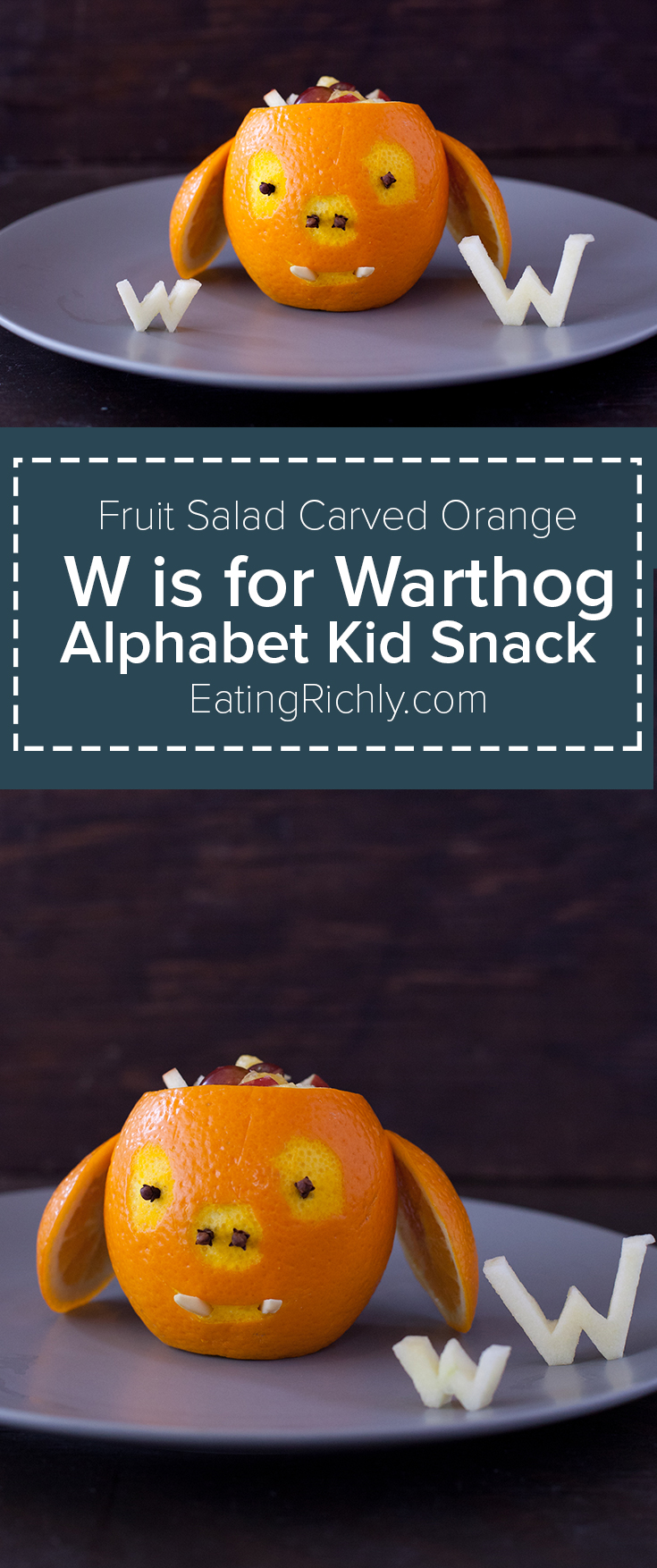 It takes less than 10 minutes to make this cute carved orange warthog & fill it with a toddler fruit salad. It's a great alphabet lesson for your kiddo too! Alphabet kid snack From EatingRichly.com