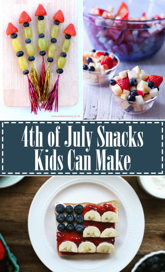 Oh my gosh! So many cute 4th of July snacks that kids can make! EatingRichly.com