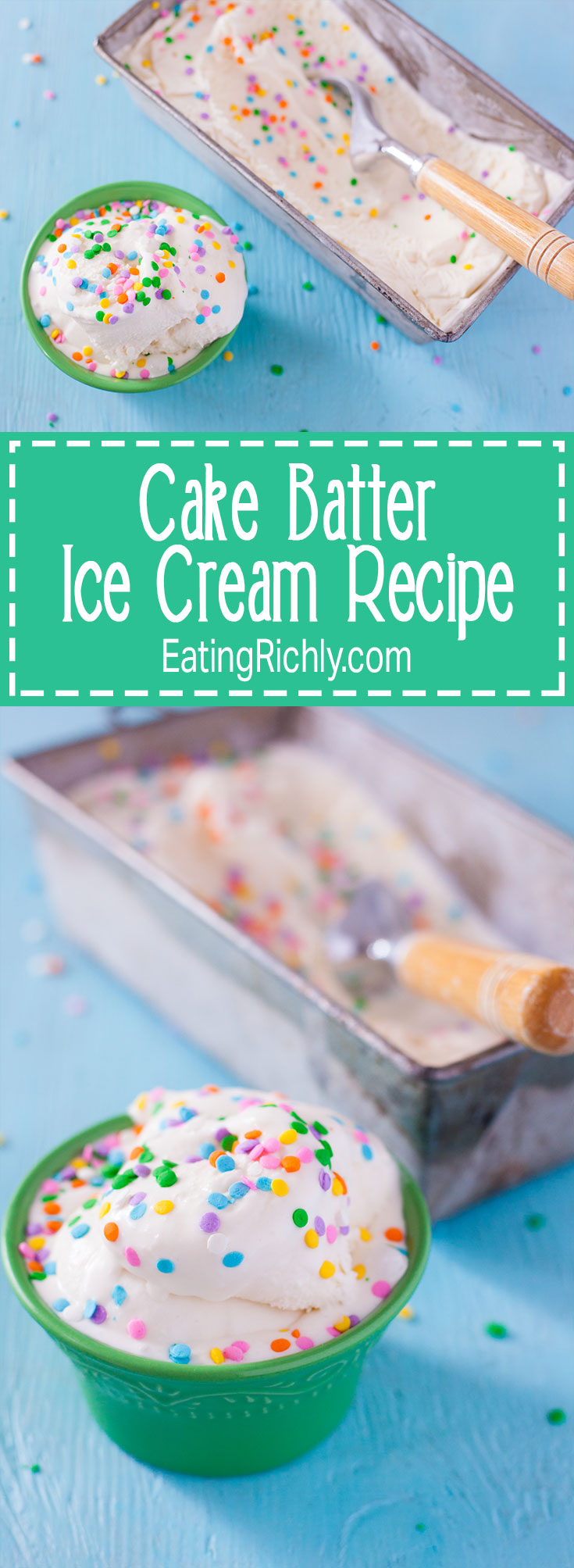 Kids can make this cake batter ice cream recipe because it doesn't require any cooking. Simply mix and churn for amazing ice cream that tastes just like birthday cake! From EatingRichly.com